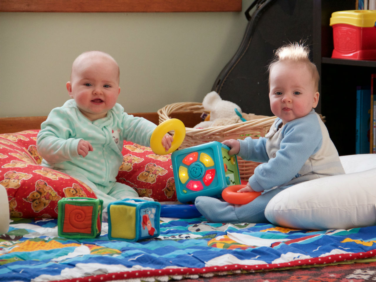 Twin Baby Girls Playing Together