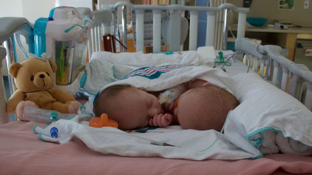 twin baby girls cuddle in hospital bed