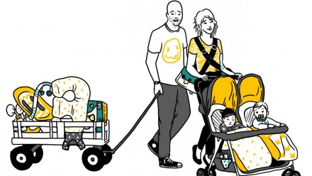 illustration parents with twins stroller and gear