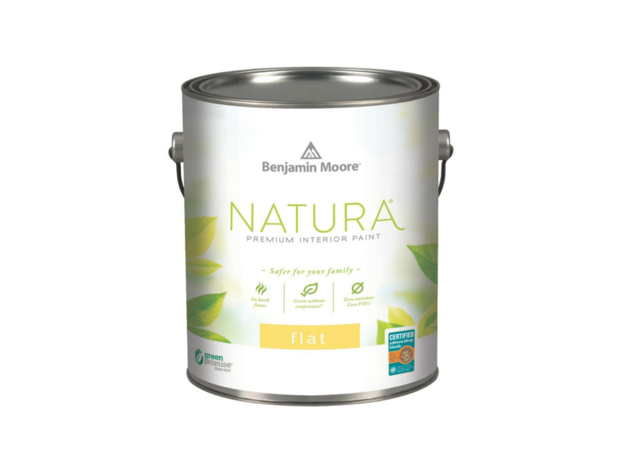 benjamin moore natura paint can in flat on a white background