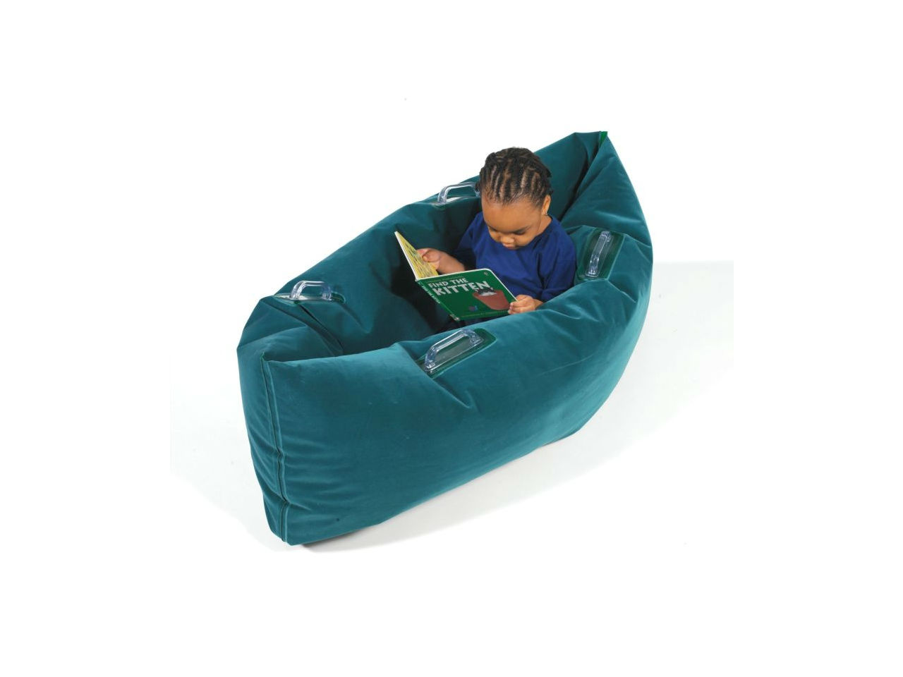 child sits in turquoise pea pod