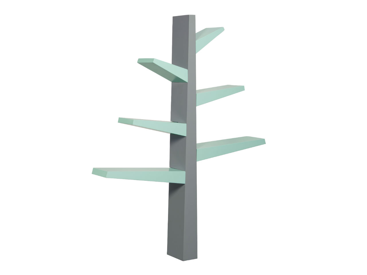 spruce tree bookcase grey with mint accents on a white background