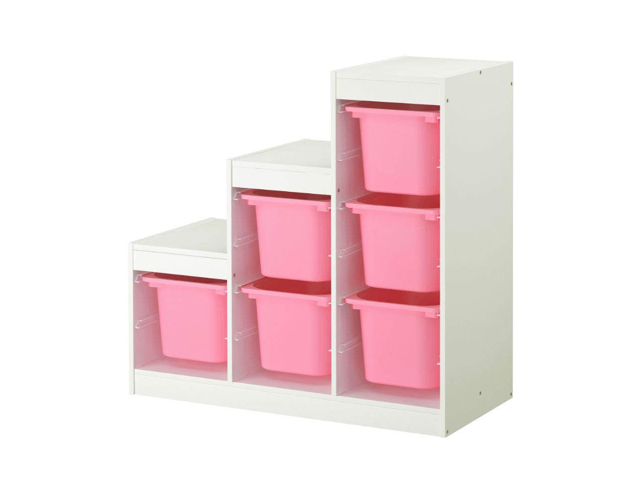trofast storage white with pink boxes on a white background