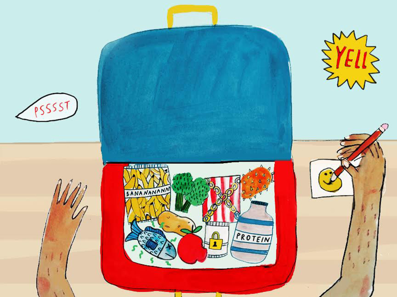 illustration of two hands with an open lunch box, why your kid isn't eating lunch at school