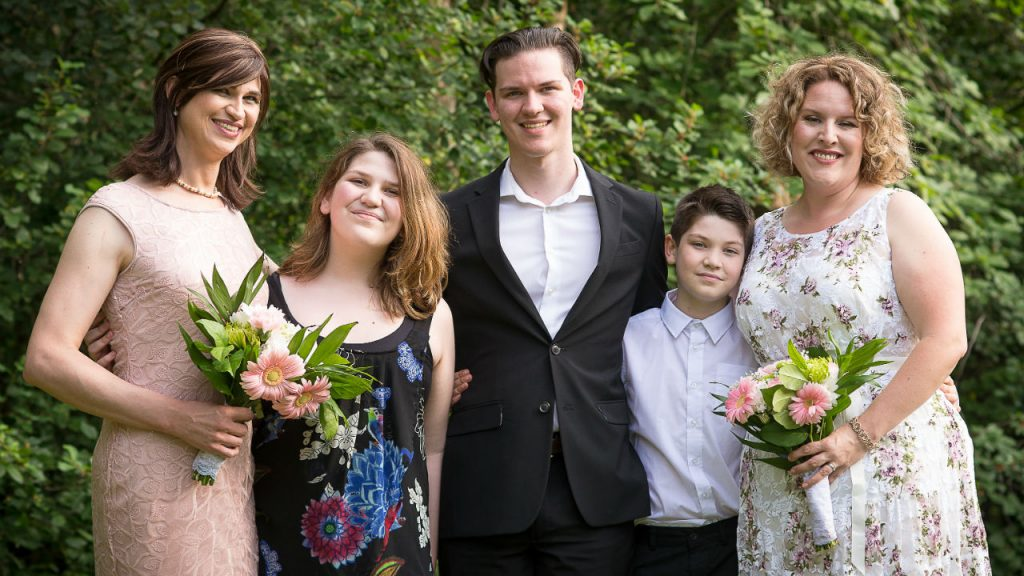 Happy Family photo, transgendered daughter, two songs, transgendered wife and wife