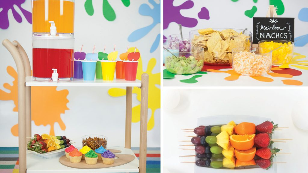 Collage of colourful food for an art-themed party. Fares included rainbow fruit skewers, coloured punch, and build-your-own nachos