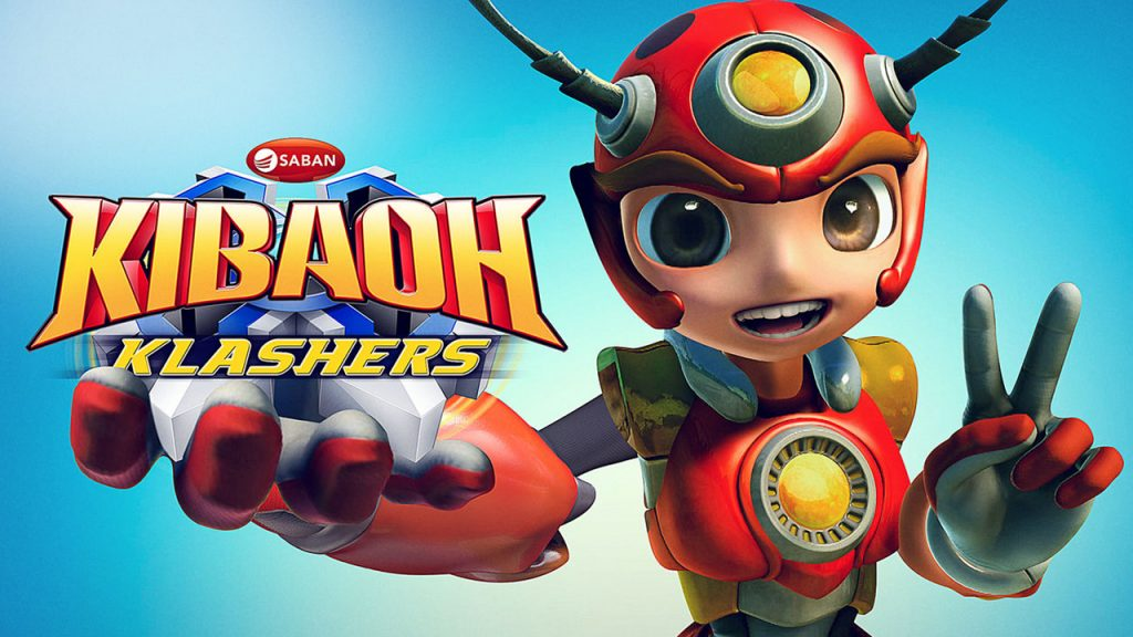 Promo Image for the show Kibaoh Klashers on Netflix, Shows an anthropomorphic bug wearing armor and holding up a peace sign with his fingers