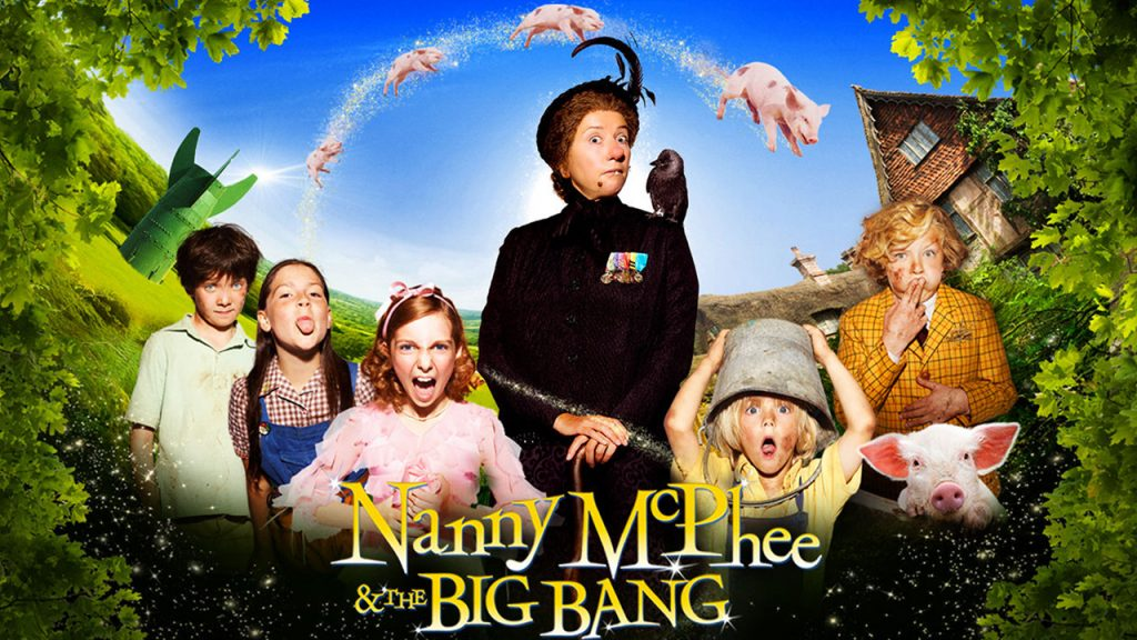 Promo image for the movie, Nanny McPhee and the Big Bang, Shows Nanny McPhee surrounded by naughty kids and greenery