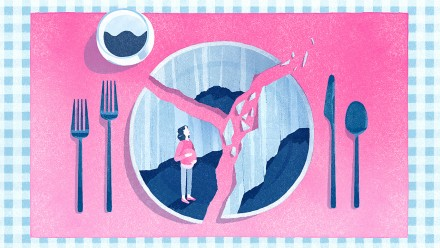 illustration of table setting with a smashed dinner plate. On the palt is an image of a pregnant woman looking up at the crack