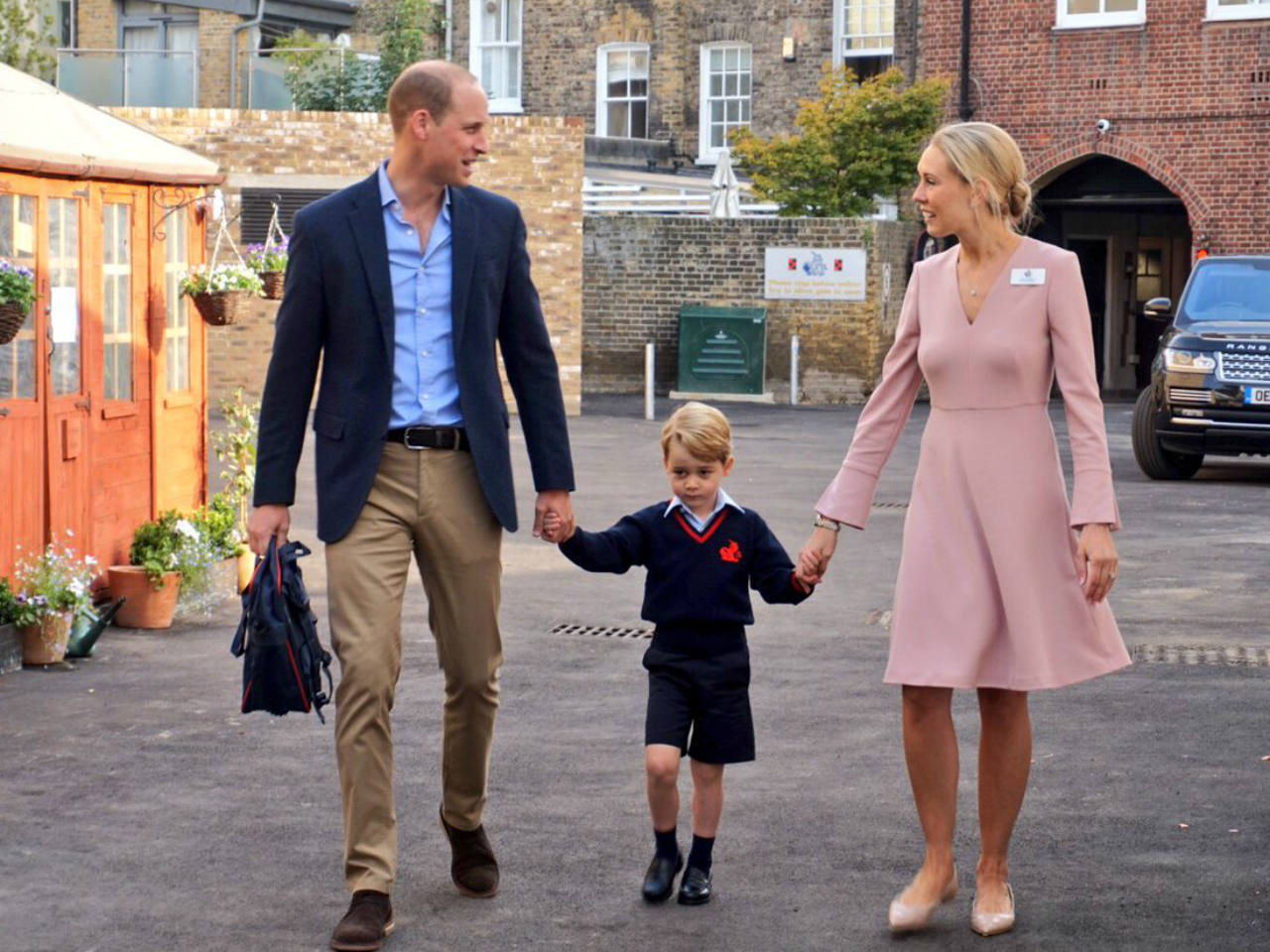 Prince George looks a bit nervous on his first day of school
