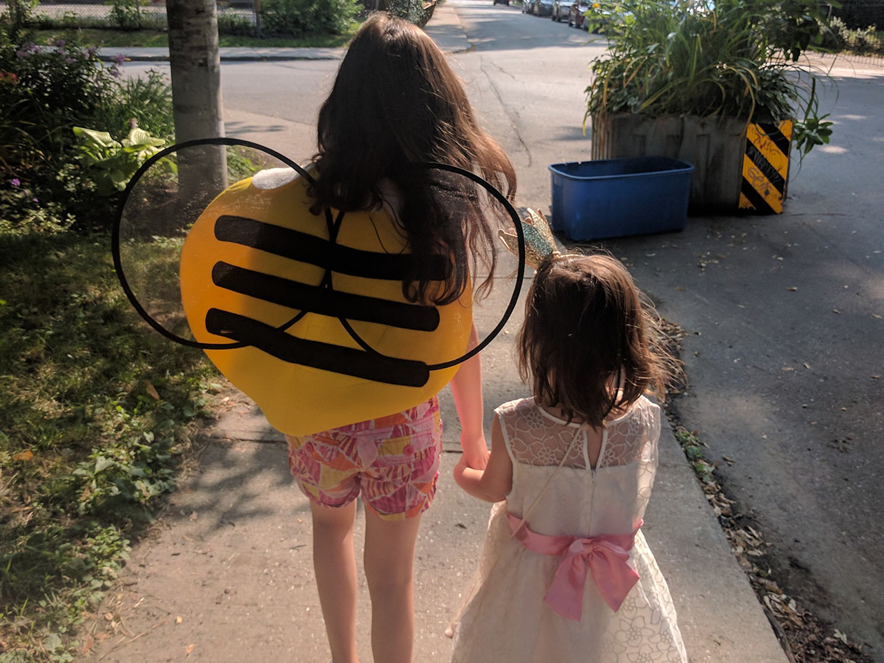 Two sisters taking a walk holding hands, one is wearing a bumblebee wings