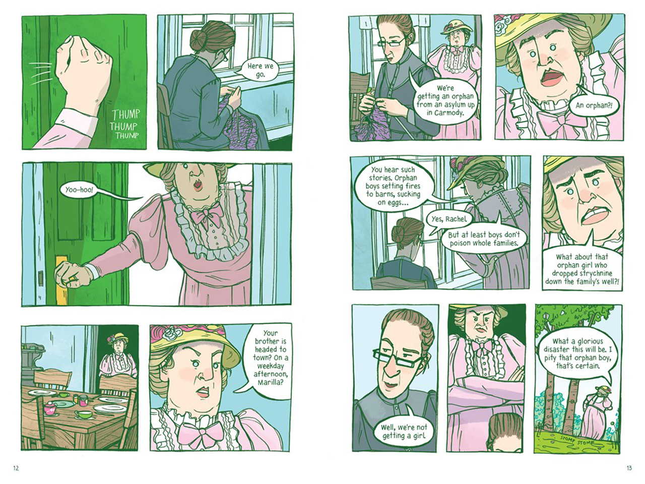 graphic novel of a scene from Anne of Green Gables where Rachel investigates what's going on
