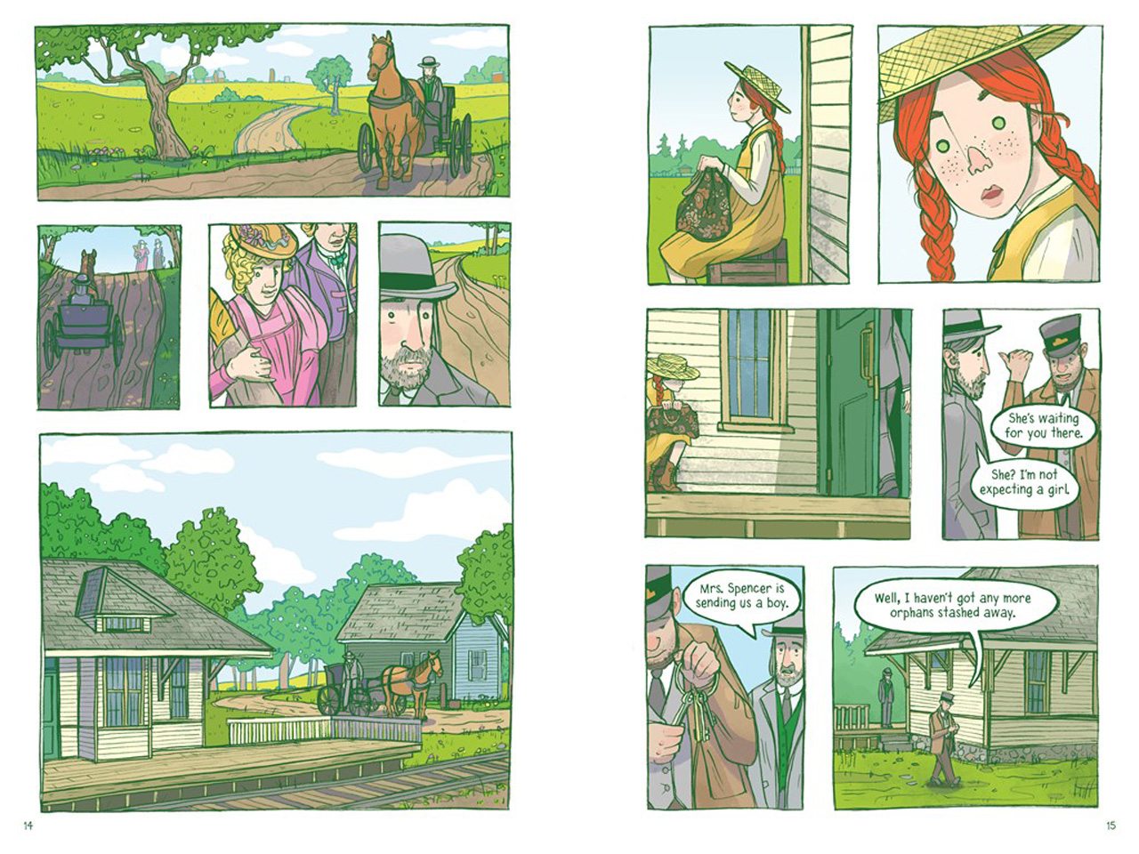 pages from new graphic novel of Anne Shirley getting picked up by Matthew