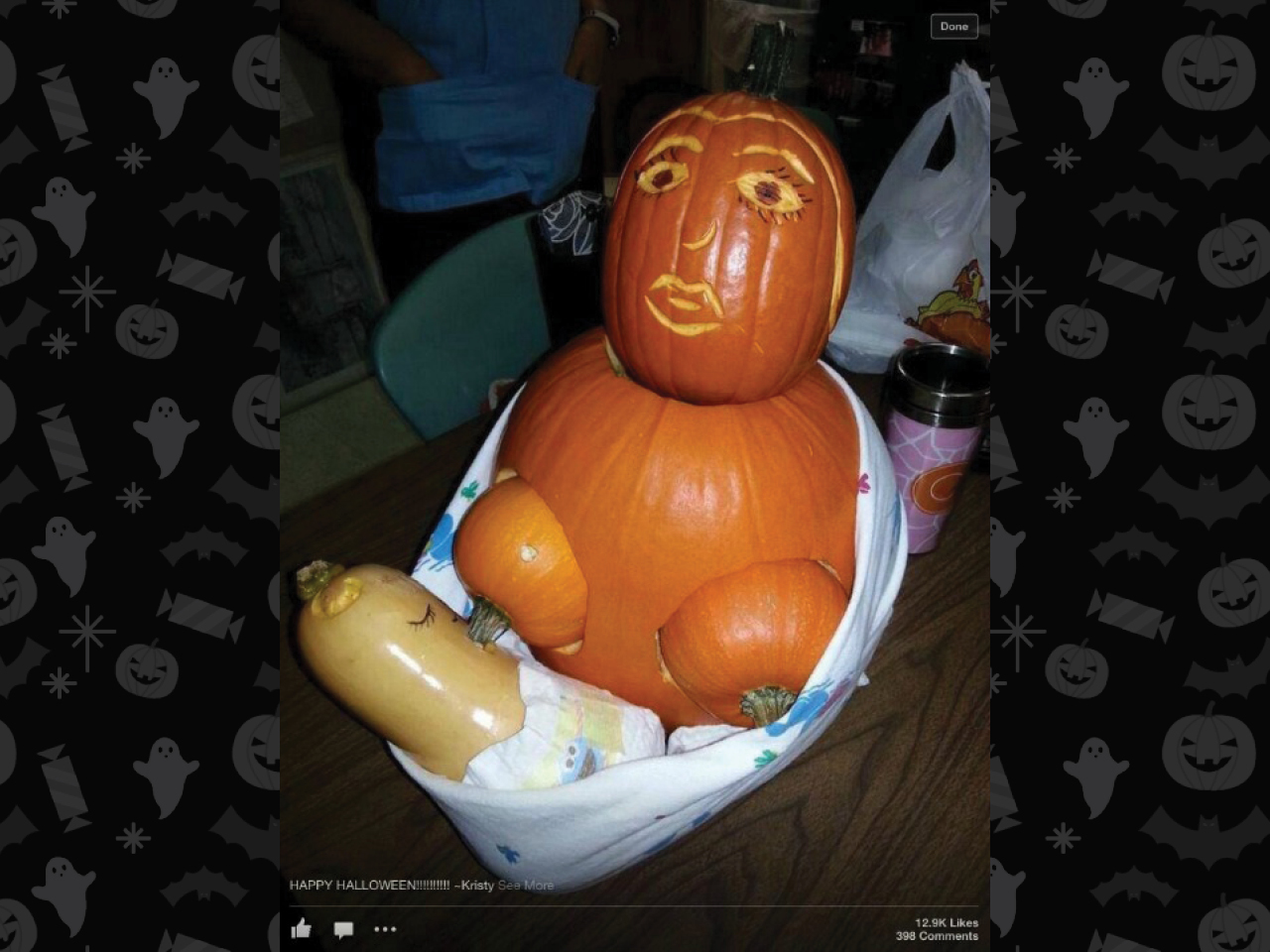 pumpkin carved as breastfeeding mom with surprised face