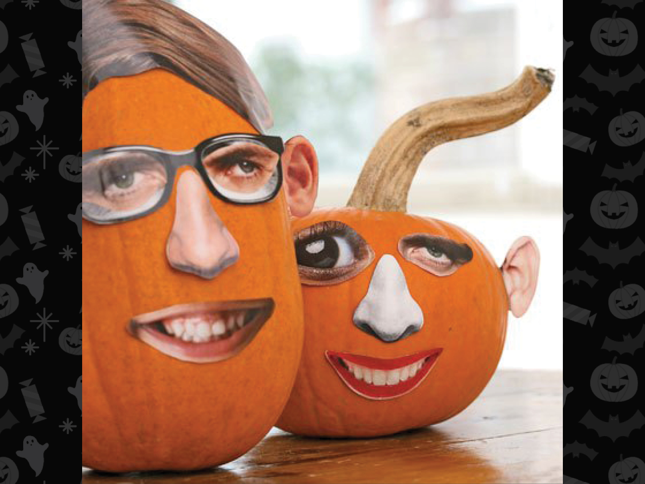 two pumpkins with magazine cutouts of eyes nose and mouth pasted on as a face