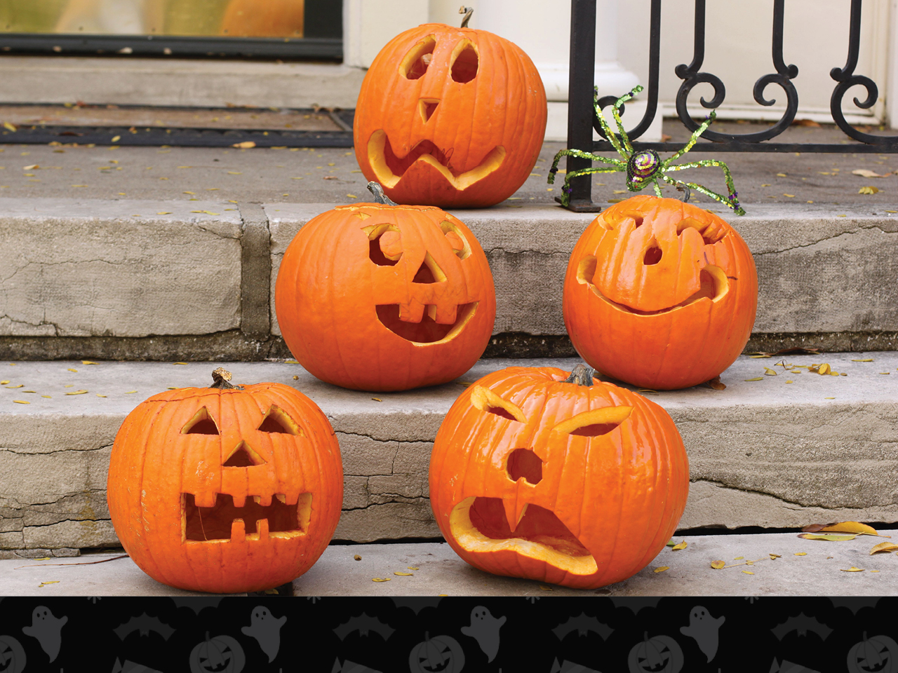 pumpkin family with funny faces