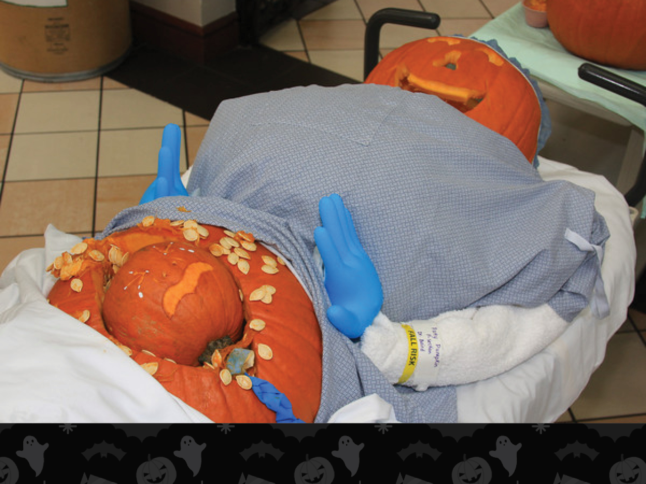 pumpkin woman having a c-section