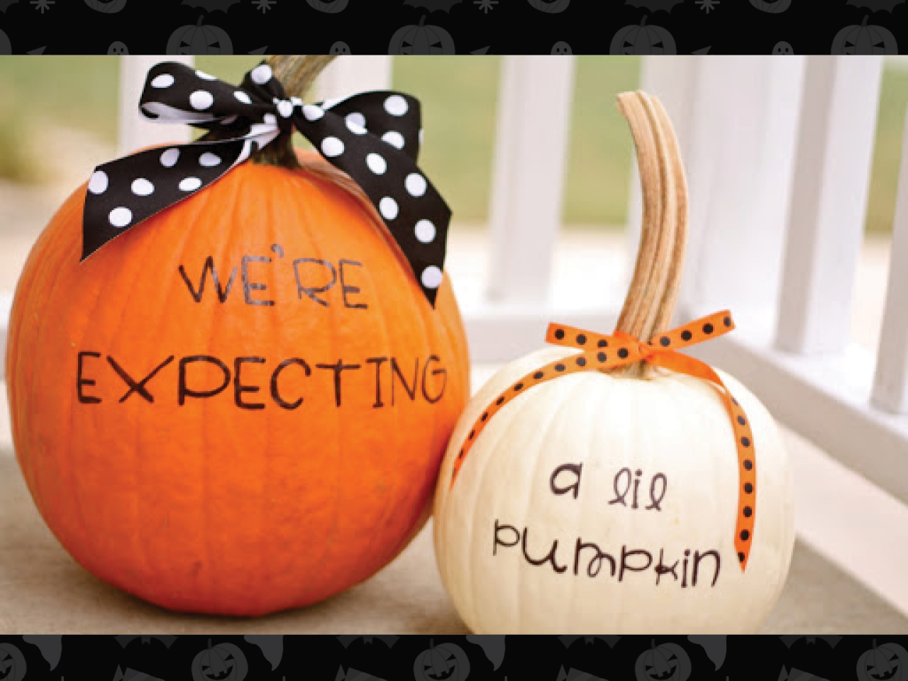 "pregnancy announcement written on two pumpkins that says ""we're expecting a lil pumpkin"""