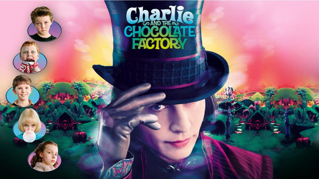 Promo image for the movie Charlie and the chocolate factory. show Johnny Depp as Willy Wonka tipping his tophat and the six kids in bubbles along the side