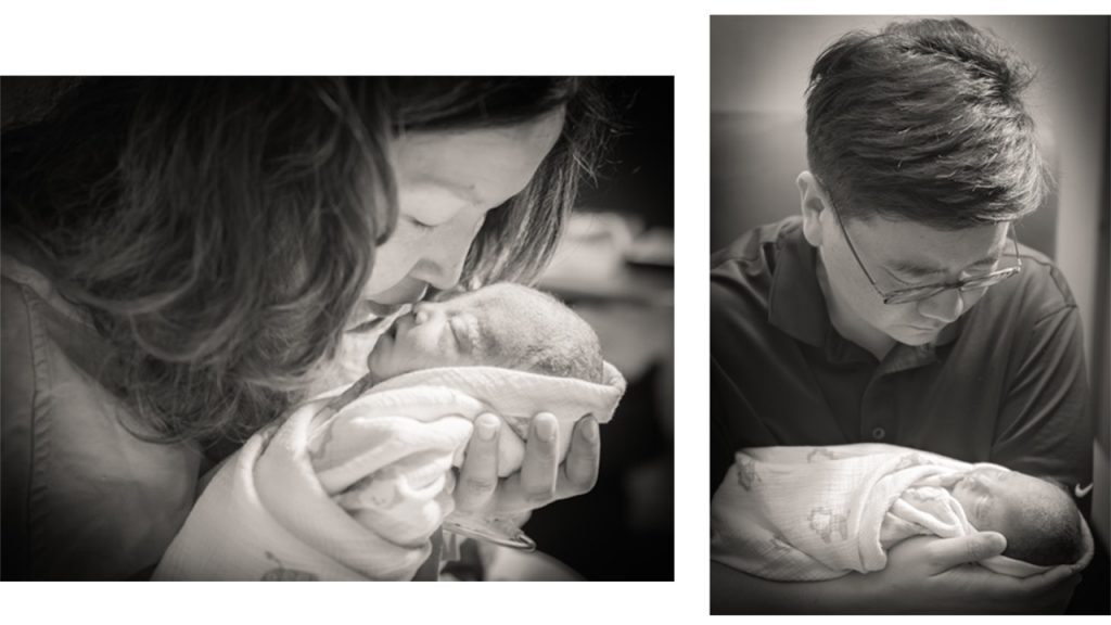 Black and white photos of two parents holding their newborn baby