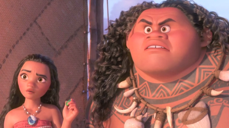 photo of disney character Moana and Maui looking confused