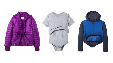 Samples of the adaptive clothing line from Cat & Jack features a purple puffy jacket, a grey onesie and a blue hoodie