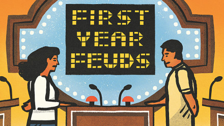 An illustration of a couple competing on a game show called First Year Feuds