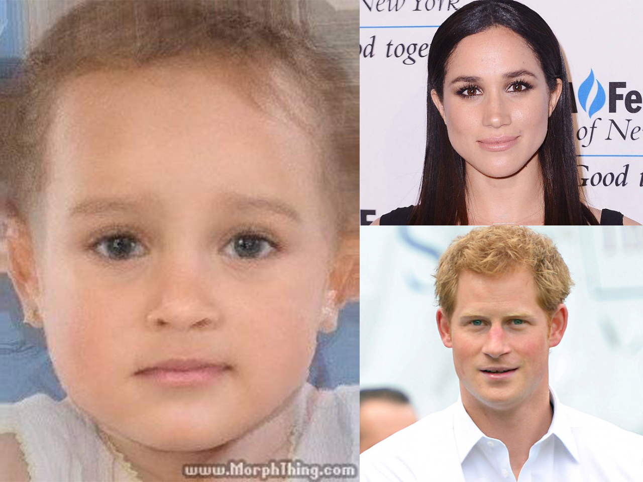 Image with Prince Harry and Meghan MArkle's faces morphed together to show their future baby