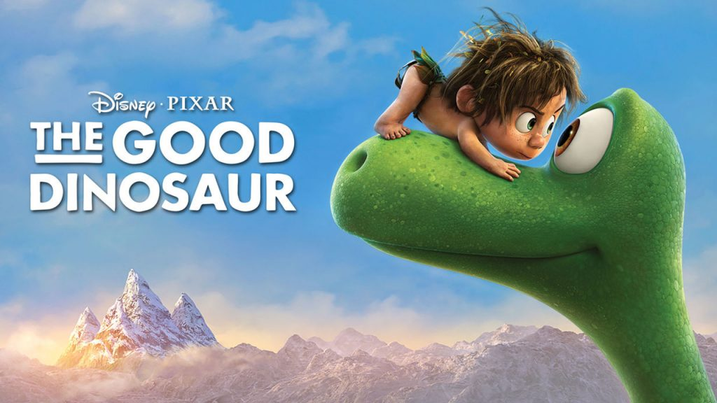 Promo image for The Good Dinosaur. Shows a little cave boy standing on a green dinosaur's snout looking him in the eye