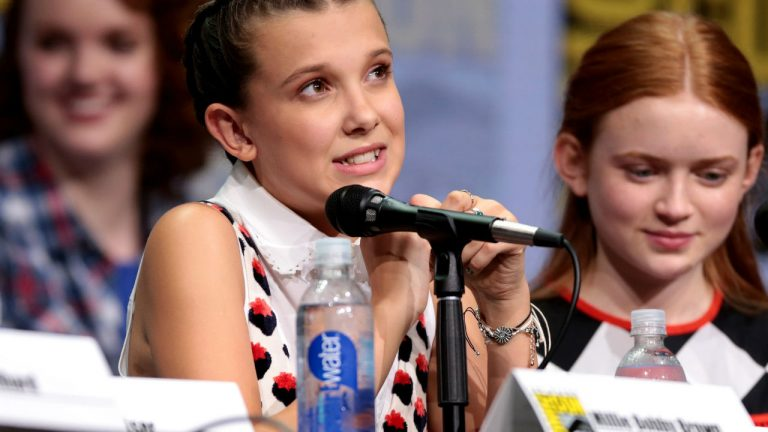 Actress Millie Bobby Brown at a Comic-Con panel.