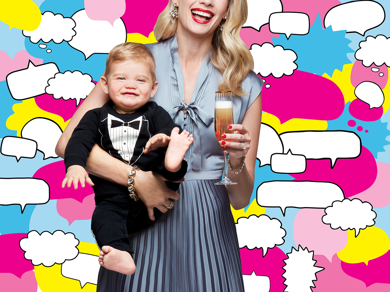 Mother dressed up holding a baby and a glass of champagne