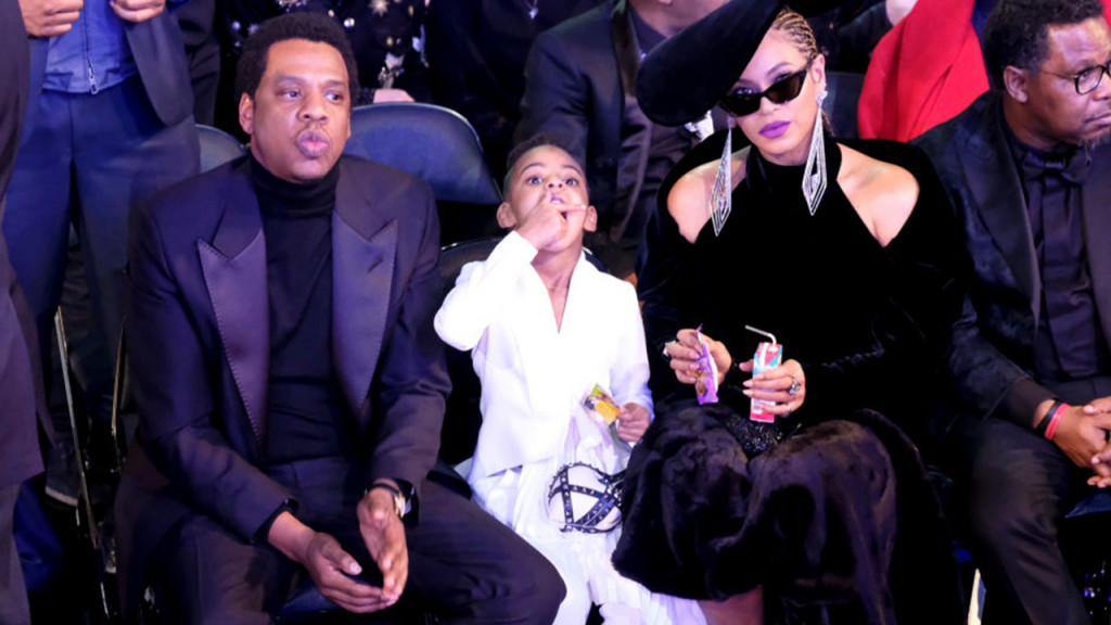JAY-Z, Blue Ivy Carter, and Beyonce at THE 60TH ANNUAL GRAMMY AWARDS
