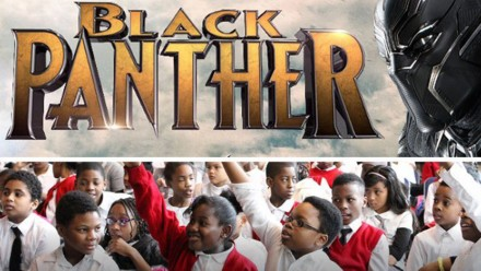 Black Panther porom over a picture student from the Harlem Boys and Girls Club