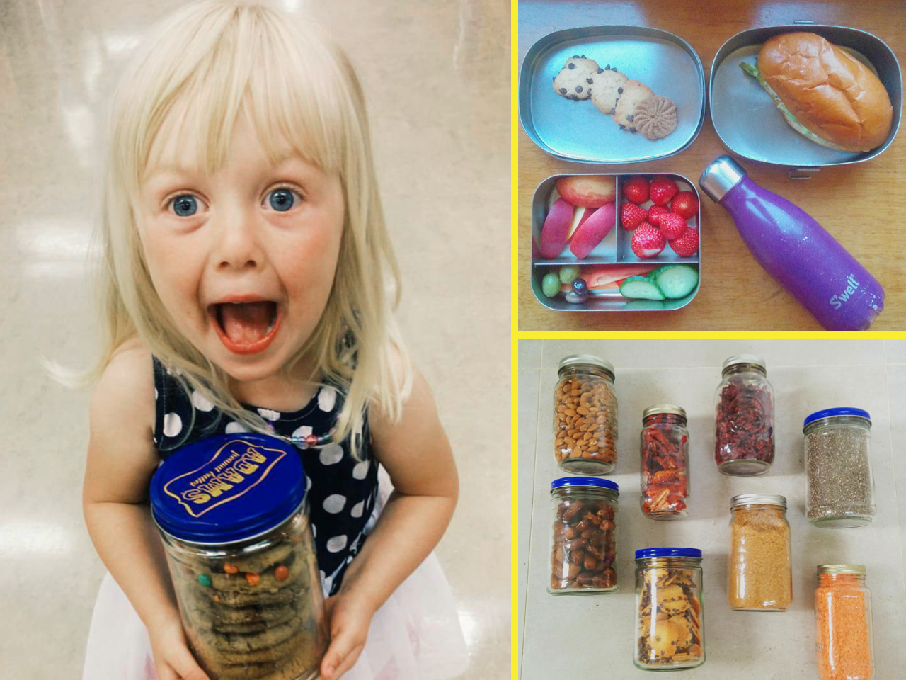 Jars holding food items and a little girl holding a jar looking excited