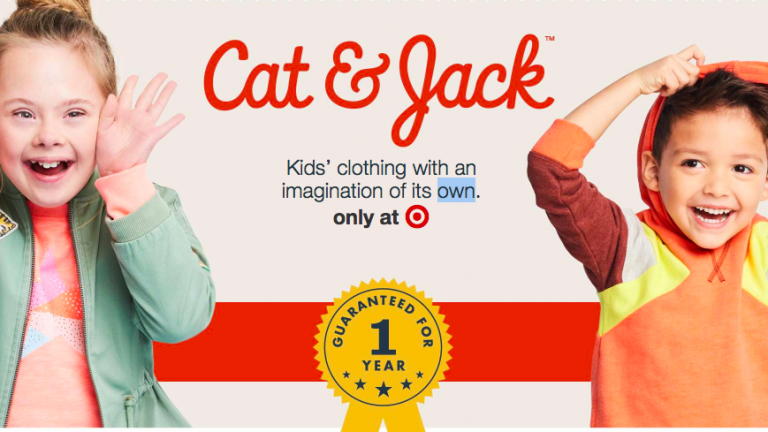 Photo of the Cat & Jack logo and two kids