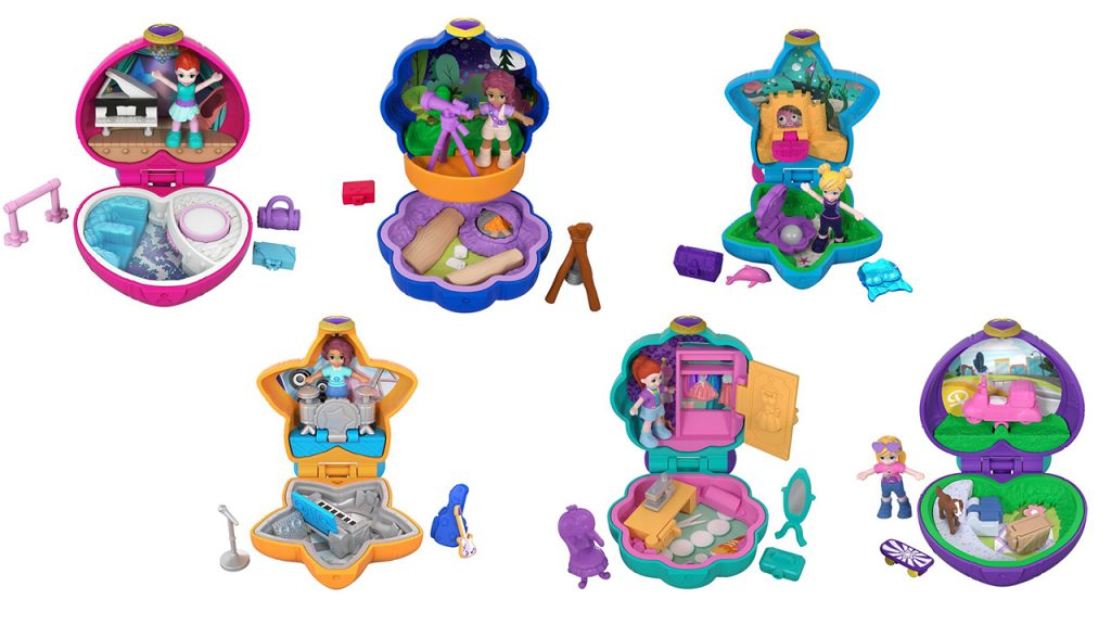 Six of the new mini compact playsets from the relaunch of Polly Pocket