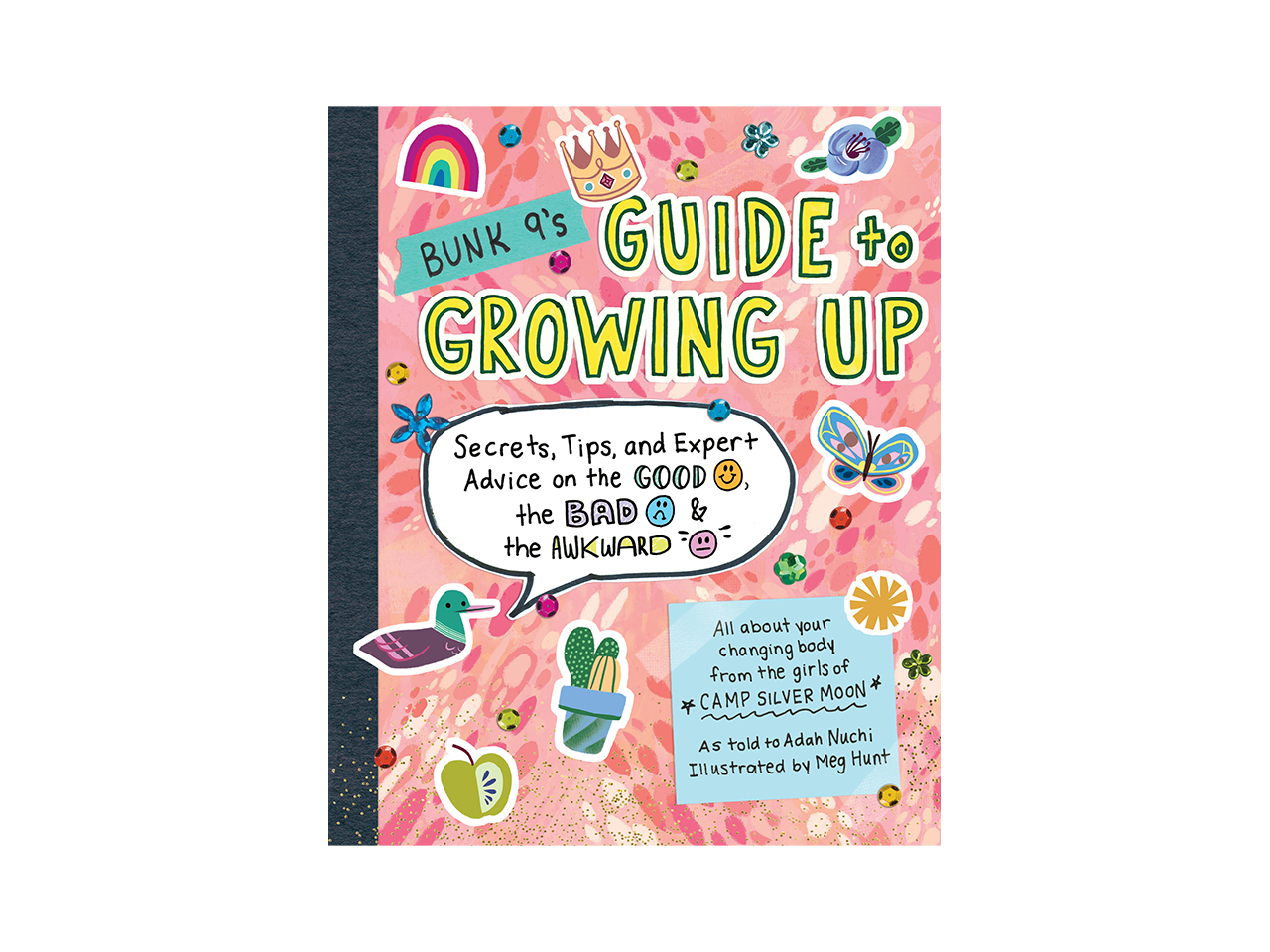 Cover art for Bunk 9's Guide to Growing Up. Looks like the front of a notebook with a pink background and cute stickers