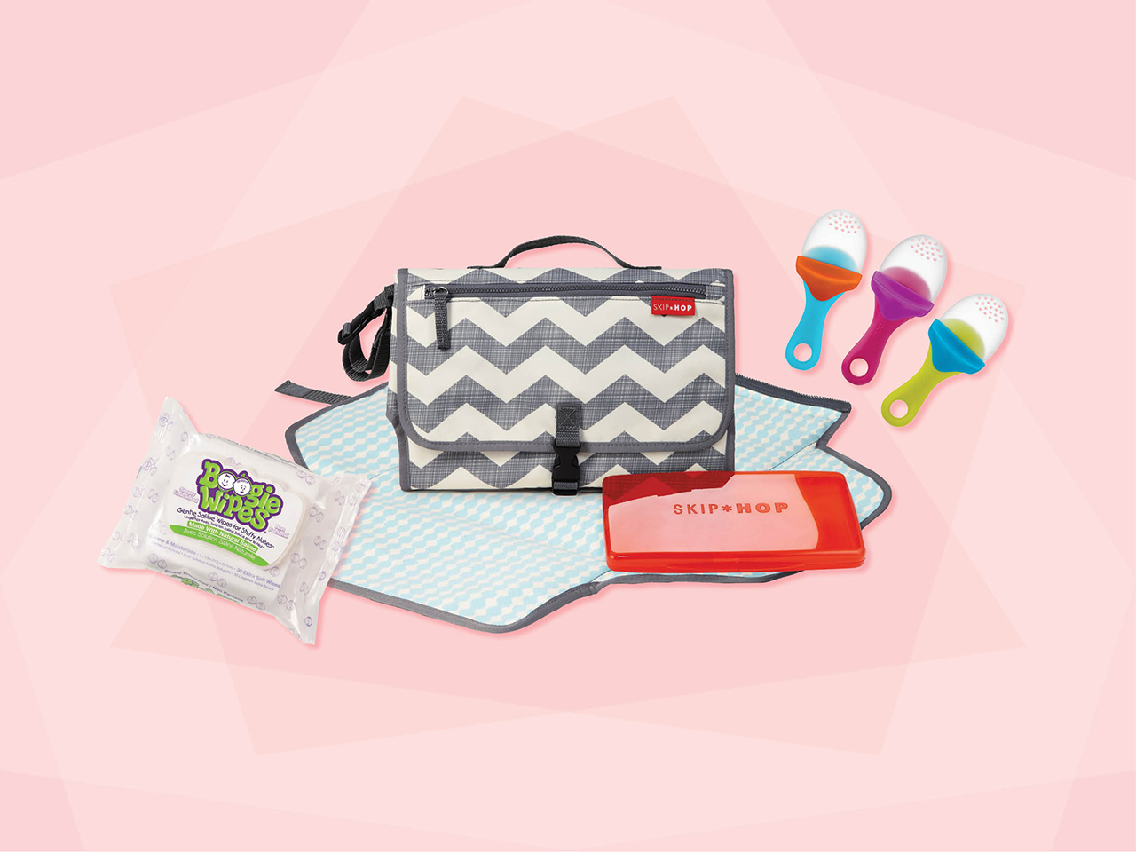 clever baby products like a diaper changing station, boogie wipes and silicone feeders
