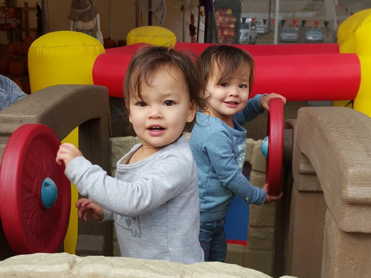 The authors twin daughters playing on a playground