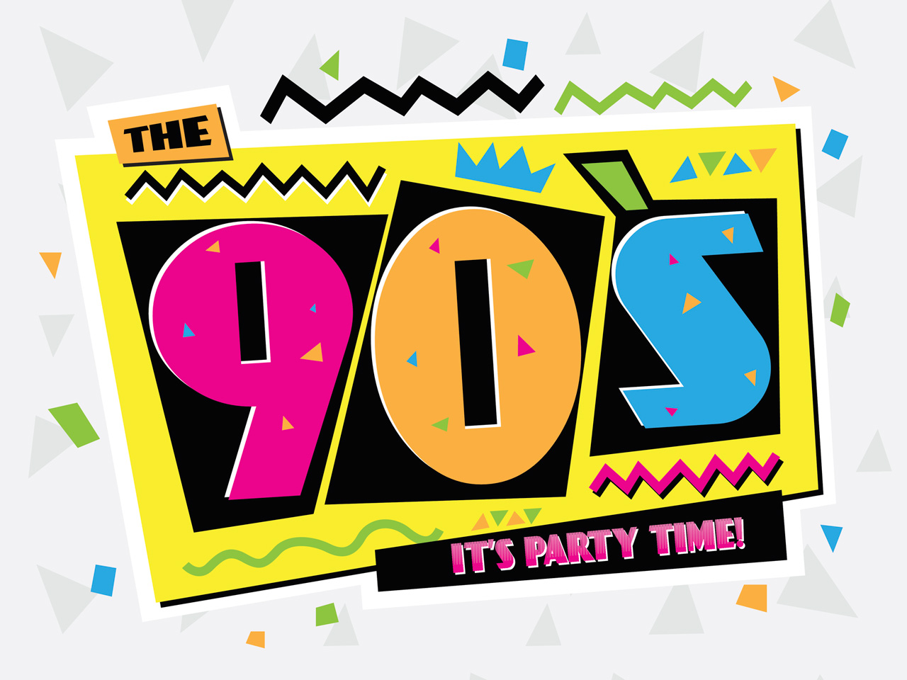'90s-style lettering in bright colours that reads: The 90s it's party time!
