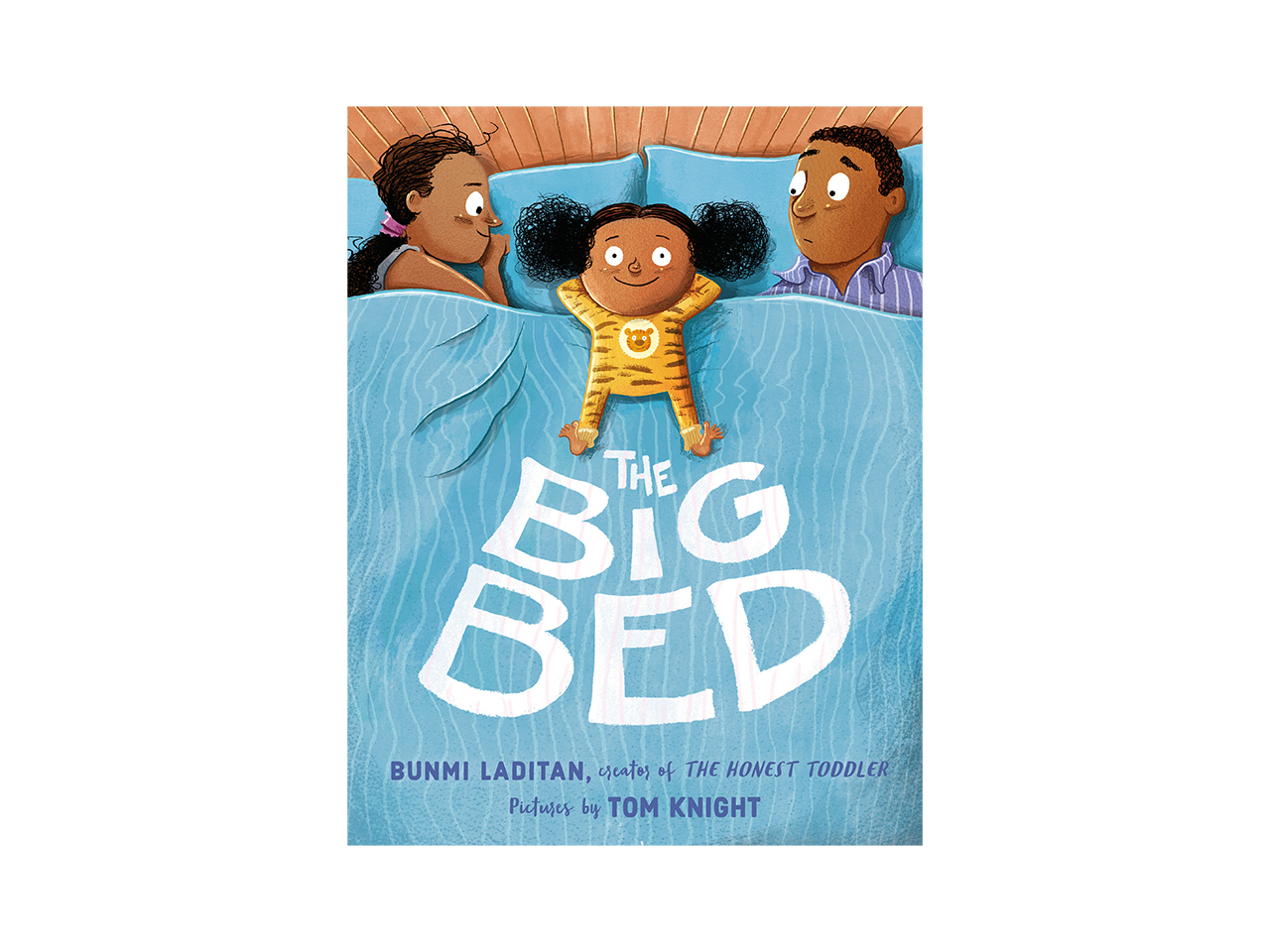 Cover art for the book, The Big Bed. Shows a little girl in striped pajamas sleeping between her parents