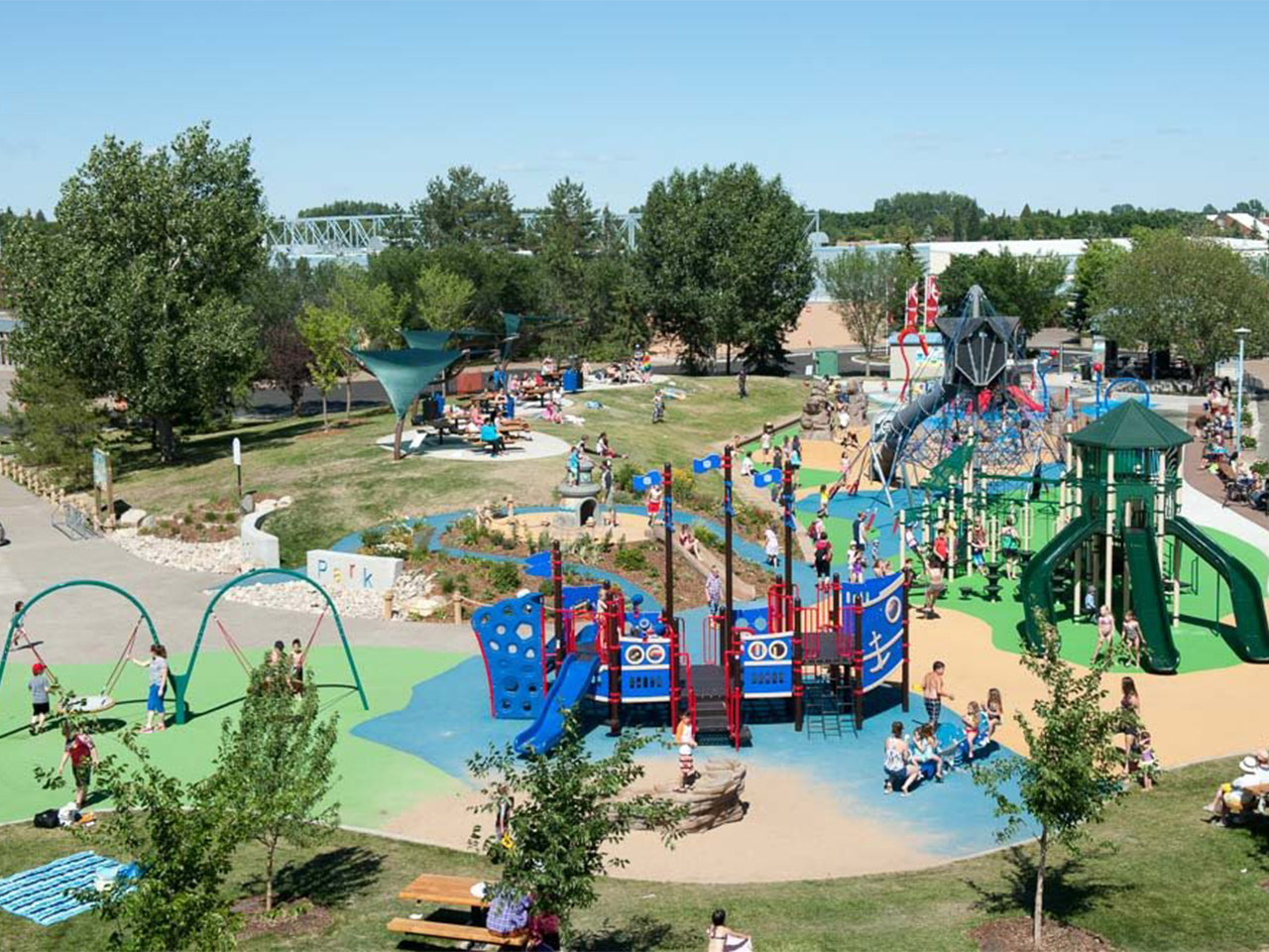 An overhead photo of Broadmoor park with several large play-structures