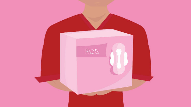 Illustration of a male holding a box of pads.