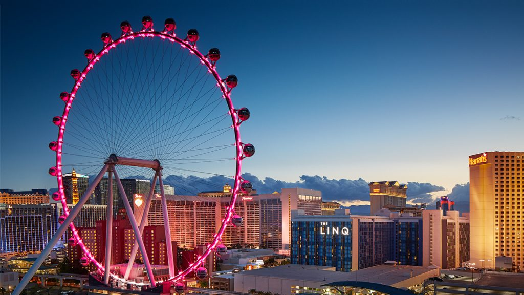 Picture of the High roller observation wheel in Las Vegas at sunset