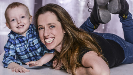 Writer Athena Reich and her son