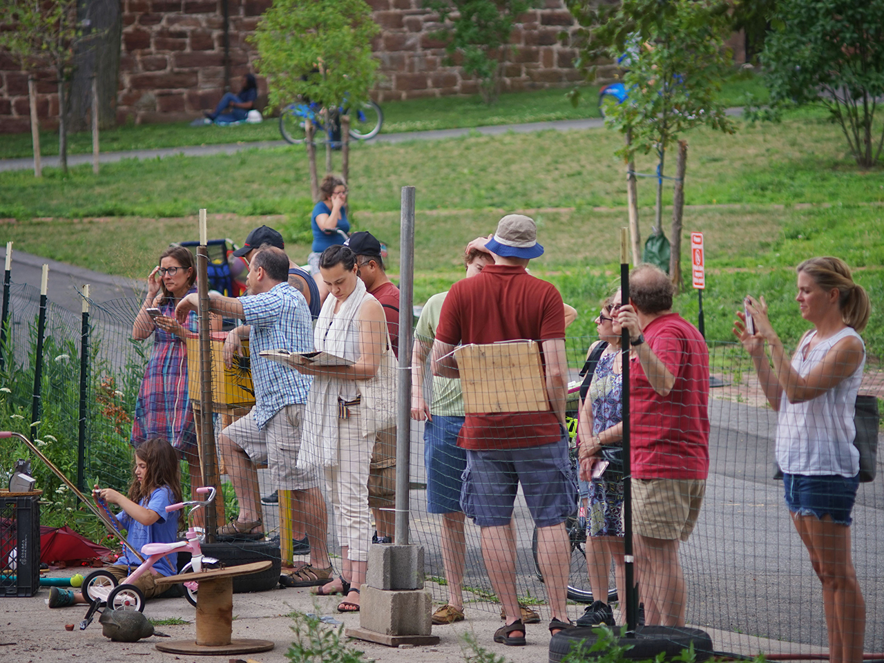 Parents restricted behind a fence at Play:ground on Governors Island