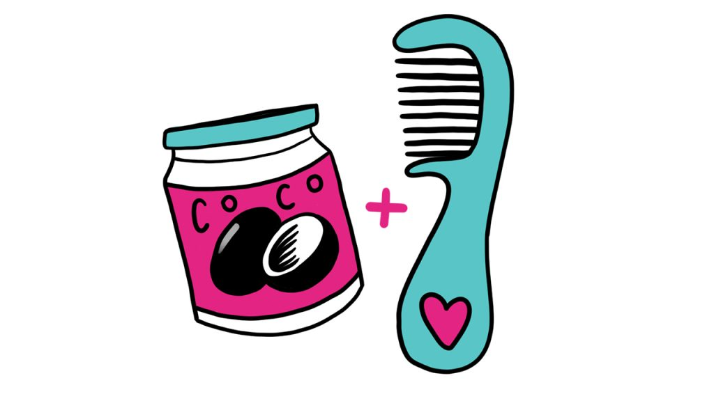 illustration of a jar of coconut oil and a comb