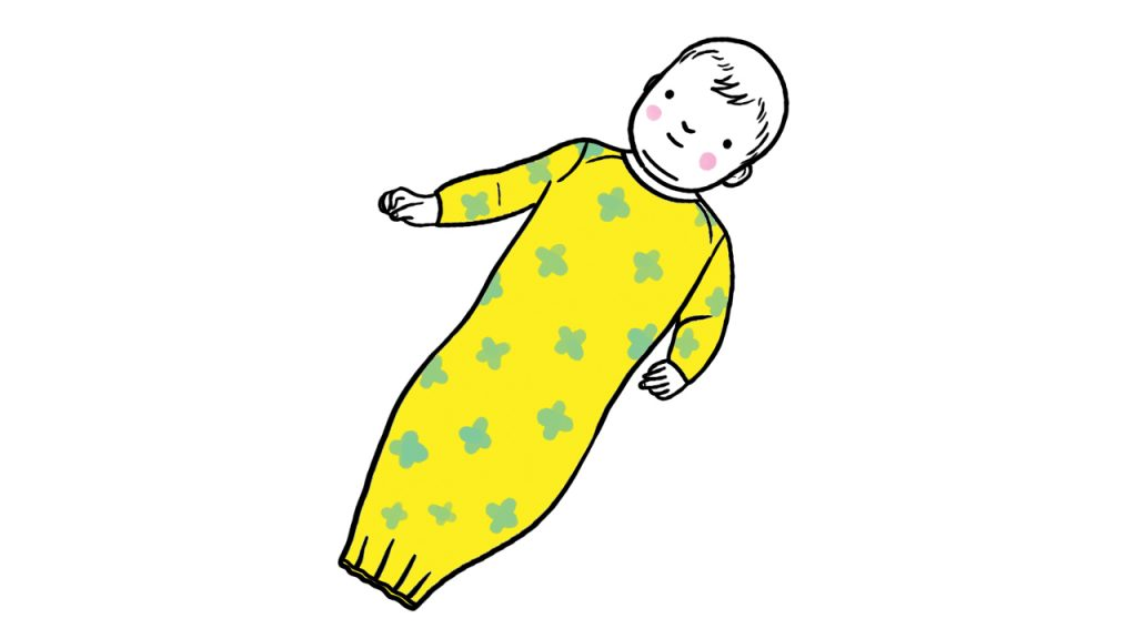 illustration of a baby wearing a long open-ended nightgown