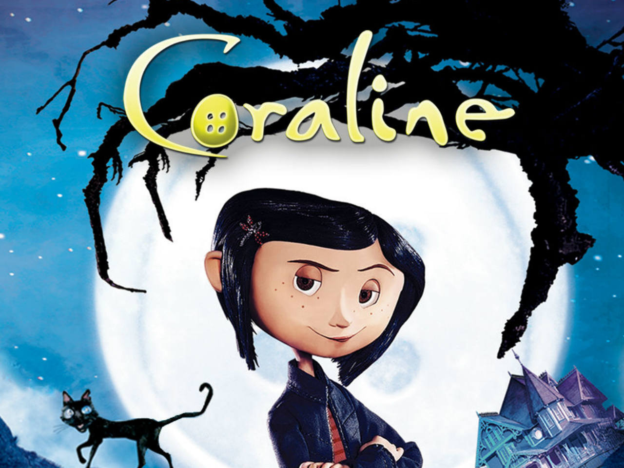 A movie poster of the kids' movie Coraline