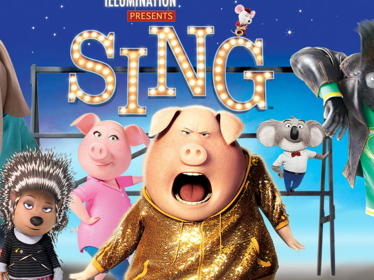 The movie poster from the kids' movie Sing